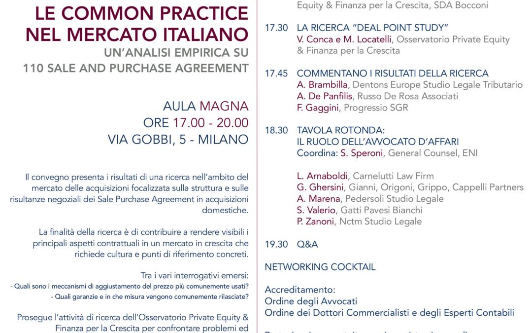 03/07/2019 – I contratti di acquisizione: le common practice nel mercato italiano