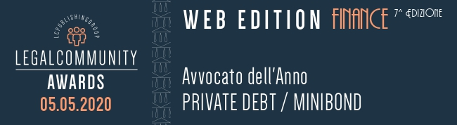 Legalcommunity Finance Awards 2020: Marc-Alexandre Courtejoie Avvocato dell'anno Private Debt/Mini Bond