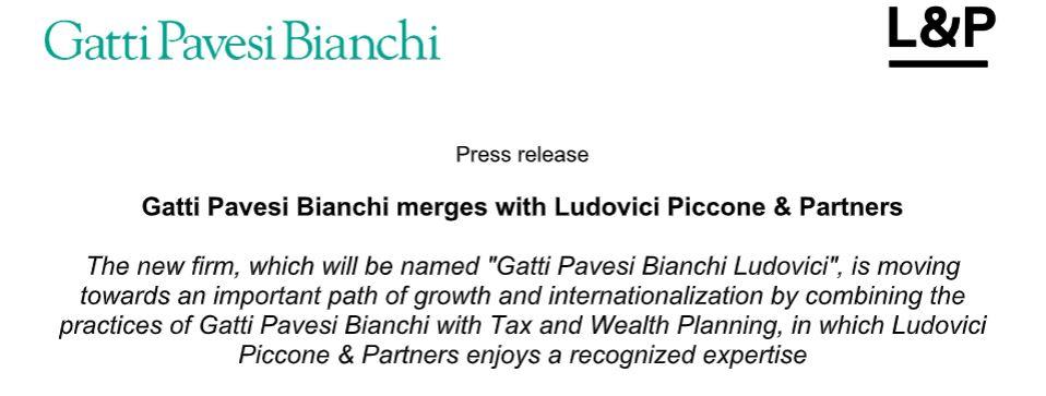 Gatti Pavesi Bianchi merges with Ludovici Piccone & Partners