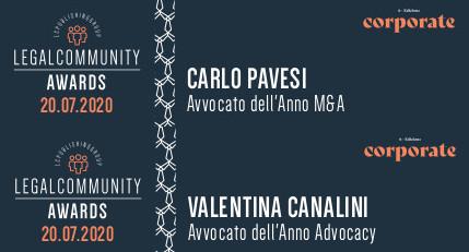 Legalcommunity Corporate Awards 2020 – Carlo Pavesi and Valentina Canalini winners